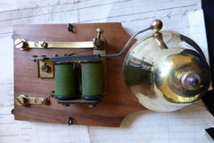 Vintage Wood & Brass Electric Conical Doorbell