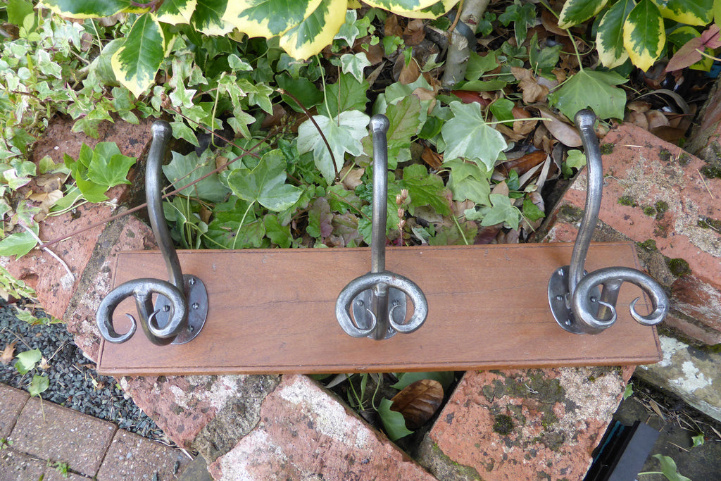 Vintage Hand Forged Wrought Iron and Wood Pigtail Hat / Coat Hooks