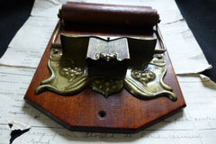 Art Nouveau Brass and Wood Antique Toilet Roll / Paper Holder