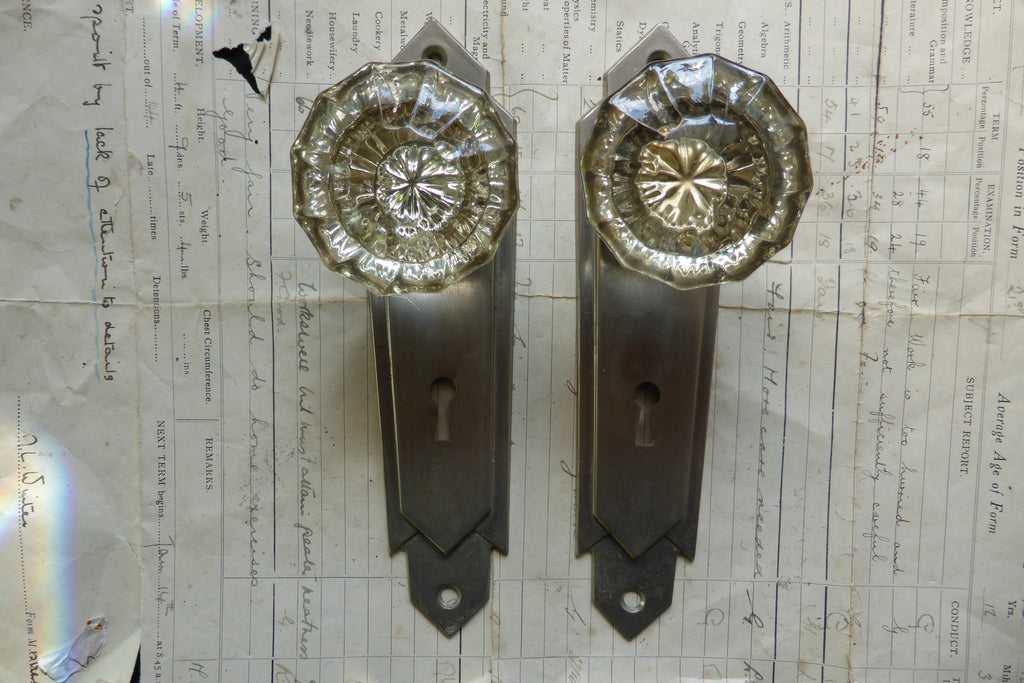 Pair Art Deco 12 Sided Glass Door Knobs + Nickel Back Plates / Key