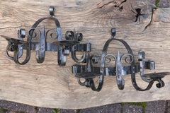 Pair Gothic Wrought Iron Wall Lights / Candle Holder