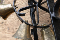 Vintage Wrought Iron Revolving Multi-Chimes - Spanish Revival Brass Door Bells