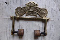 Solid Brass and Wood Antique Toilet Roll / Paper Holder 'Requisite'