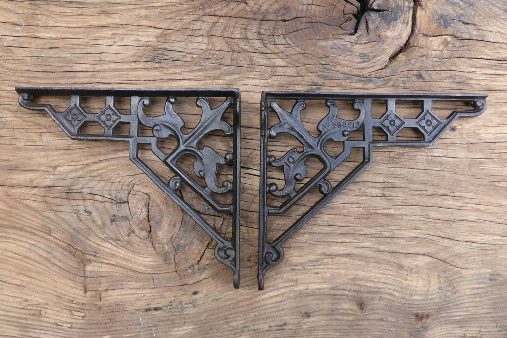 "9 1/2"" Antique Ornate High Level Cast Iron Toilet Cistern Brackets - Dated 1901"