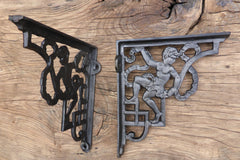 "8 1/4"" Reclaimed High Level Cast Iron Toilet Cistern Brackets - Cherub"
