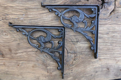 "10"" Art Nouveau High Level Cast Iron Toilet Cistern Brackets - Serpents 1898"