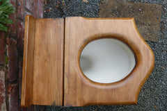 Oak High Level Throne Shaped Toilet Seat - Aged look