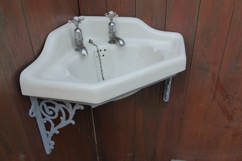 Victorian Corner Sink with Cradle, Taps & Plug