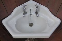 Victorian Corner Sink with Cradle & Brackets, Taps & Plug - 1893