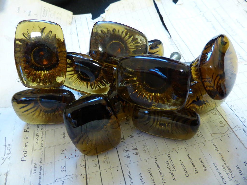 13 Vintage Lindshammar Style Amber Smoked Glass Drawer Knobs 1970s