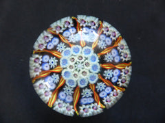 Vintage Millefiori Glass Paperweight Door Handle - Blue & Multi Colour