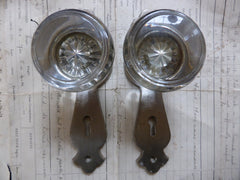 1 Pair Art Deco Round Glass Door Knobs + Back Plates