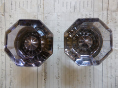 Rare Antique Amethyst Glass & Brass Door Knobs Circa 1800s