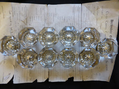 5 Pairs Antique Octagonal Glass Door Knobs Circa 1901