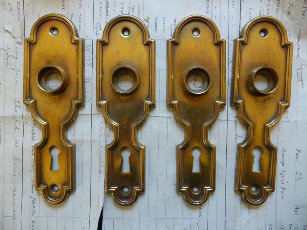 2 x Pair Victorian Brass Door Backplates / Fingerplates Circa 1900