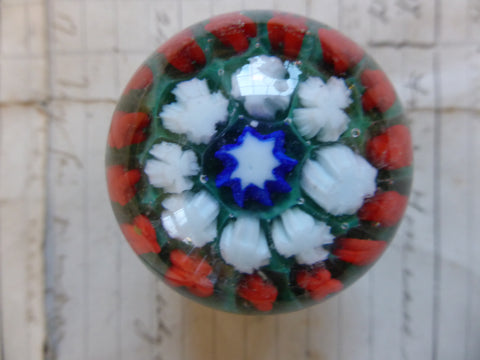 Vintage Millefiori Glass Paperweight Drawer Knob - Green
