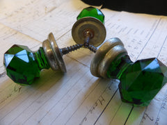 3 Antique Green Cut Glass & Brass Drawer Knobs