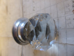 3 Antique Clear Cut Glass & Nickel Drawer Knobs