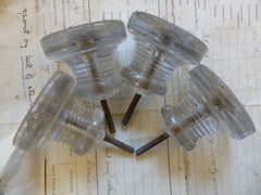 Four Antique Sandwich Glass Drawer Knobs