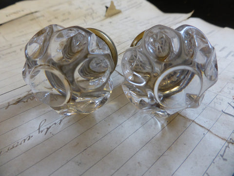 Pair Antique Clear Sandwich Glass & Brass Drawer Knobs -Dimple Flower