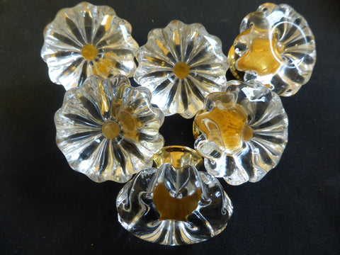 Eleven Vintage Flower Glass & Gold Drawer Knobs 1970s