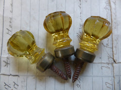 3 Tiny Antique Amber Cut Glass & Brass Drawer Knobs
