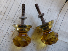2 Antique Amber Cut Glass & Brass Drawer Knobs