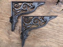 "9"" Ornate Antique High Level Cast Iron Toilet Cistern or Shelf Brackets"