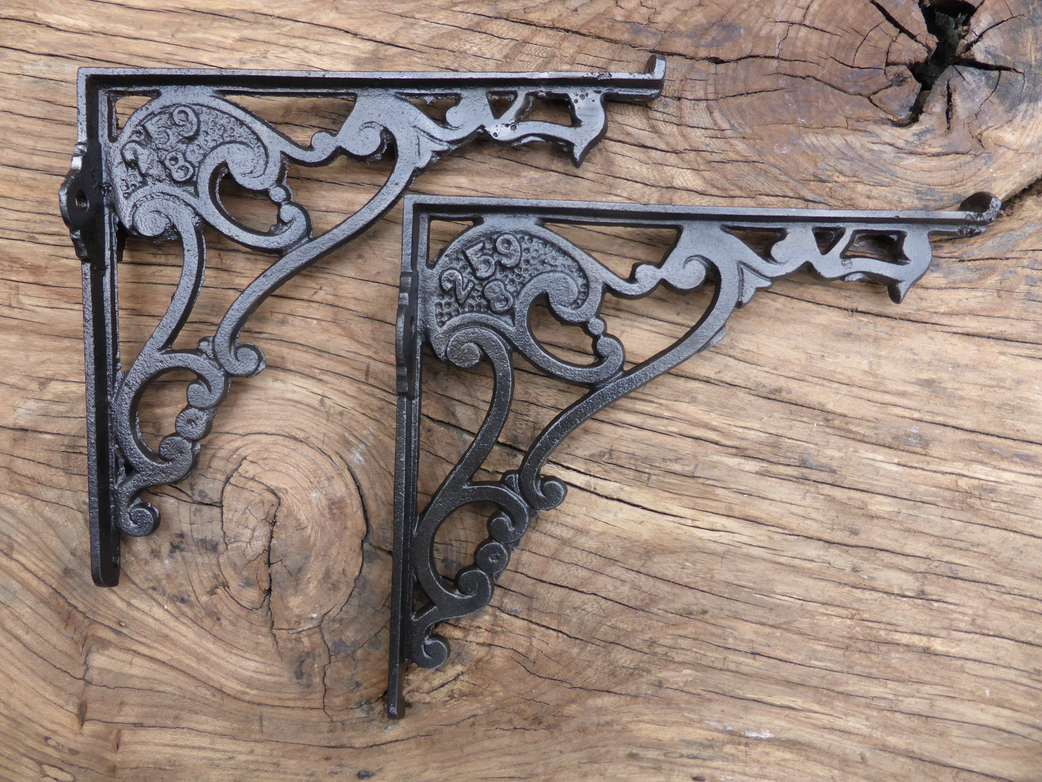 """8 1/2"""" Antique Ornate High Level Cast Iron Toilet Cistern Brackets - Stamped 259"""