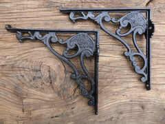 "8 1/2"" Antique Ornate High Level Cast Iron Toilet Cistern Brackets - Stamped 259"