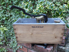 "Restored Wood & Brass High Level Toilet Cistern ""Harriap"" - Antique Pine"