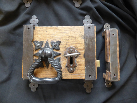 "9"" x 6 1/4"" Gibbons Restored Wooden & Cast iron Church / Castle Rim Lock, Key, Keep & Straps"