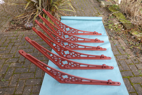 3 Pairs Huge (2ft) Antique Cast Iron Roof Brackets - Conservatory, Porch, Greenhouse