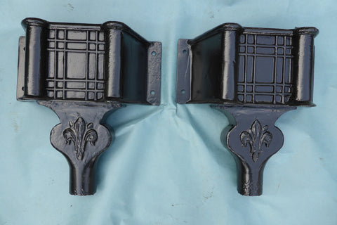 One Restored Huge Cast Iron Rain Hopper Head - Fleur-de-lis