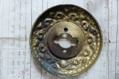 Large Antique Amber Glass & Brass Entrance Door Centre Knob Pull