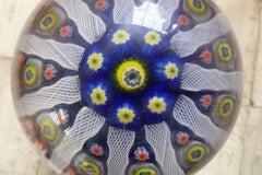 Vintage Strathearn Millefiori Glass Paperweight Door Handle - Blue
