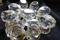 5 pairs Art Deco Diamond Cut Glass Oval Door Knobs + Nickel Backplates