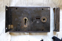 "8"" x 5"" Victorian Cast Iron Door Rim Lock, Key & Keep"