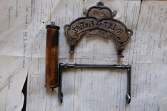 Cast Iron and Wood Antique Toilet Roll / Paper Holder - C&G