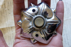 Antique Chrome Electric Door Bell Push - Flower