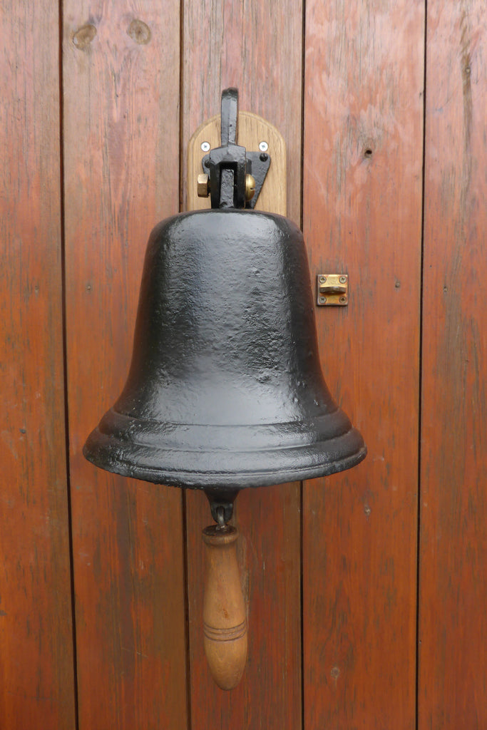 Large Vintage Cast Iron Wall Mounted Bell Pub School