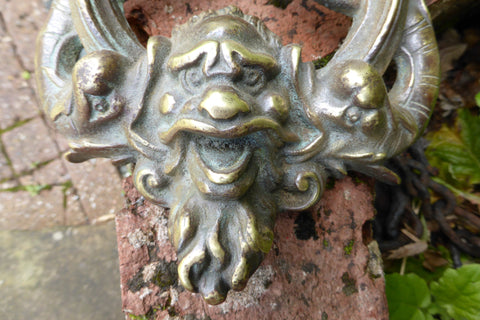 Large Art Nouveau Reclaimed Brass Door Knocker- Gargoyle Face & Fish