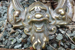 Large Art Nouveau Reclaimed Bronze Door Knocker- Gargoyle Face & Fish
