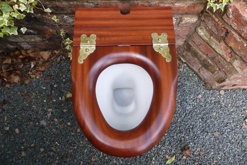 Highly Unusual Mahogany High Level Toilet Seat Professionally Restored - Soft Closing