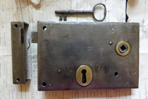 "7"" x 4 1/2"" Iron & Brass Door Rim Lock, Key & Keep"