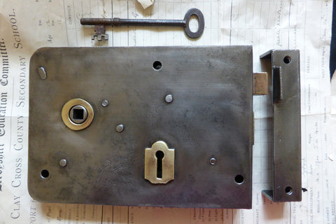 "7"" x 5"" Cast Iron & Brass Door Rim Lock, Key & Keep - 2 Lever Birmingham"