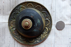 Ornate Antique Brass & China Electric Door Bell Push - 5""