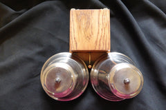 Huge Vintage Wood & Brass Double Telephone Extension Bell