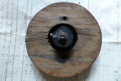 Antique Brass & China Electric Door Bell Push - Wooden Pattress