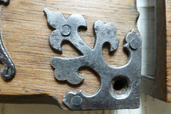 "7"" x 5 1/2"" Ornate Reclaimed Wooden & Cast iron Church / Castle Rim Lock with Key, Keep & Escutcheon"